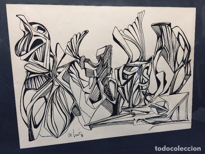 Arte: dibujo a plumilla firmado 74 composicion abstracta escuela española s xx 38x47,5cms - Foto 2 - 196358103