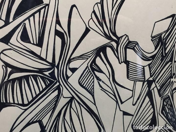 Arte: dibujo a plumilla firmado 74 composicion abstracta escuela española s xx 38x47,5cms - Foto 4 - 196358103