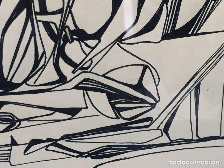 Arte: dibujo a plumilla firmado 74 composicion abstracta escuela española s xx 38x47,5cms - Foto 5 - 196358103