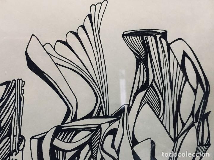 Arte: dibujo a plumilla firmado 74 composicion abstracta escuela española s xx 38x47,5cms - Foto 6 - 196358103