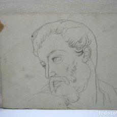 Arte: ANTIGUO DIBUJO ROSTRO CLASICO MASCULINO ULISES. Lote 196377073
