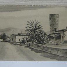 Arte: 70 CM - ANTIGUA PINTURA AGUATINTA - FIRMADA MALLORCA BALEARES. Lote 196378545