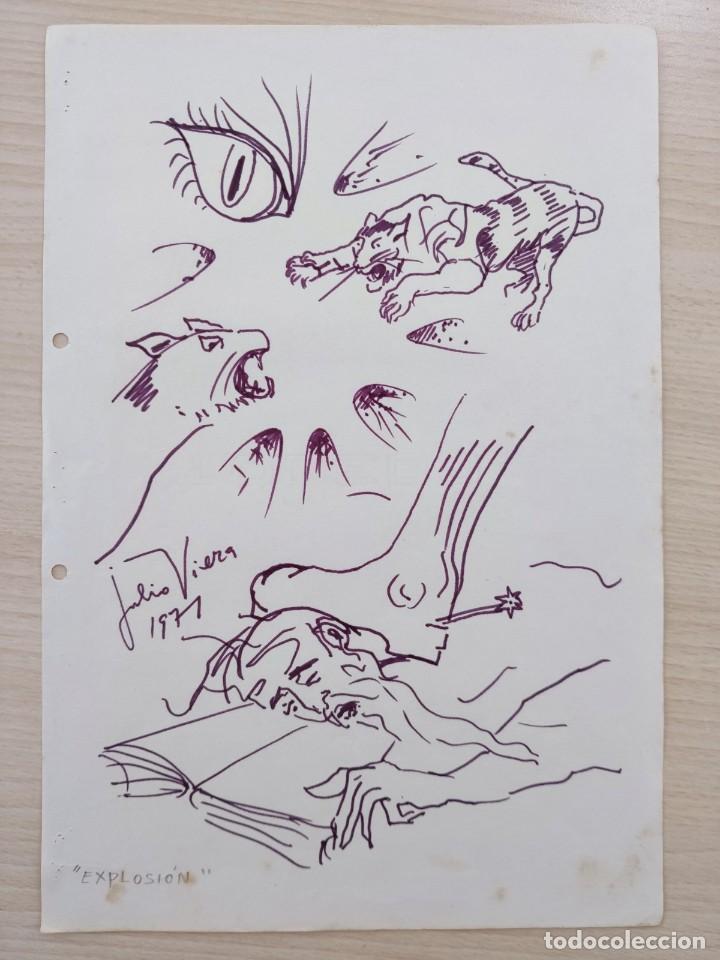 JULIO VIERA . EXPLOSIÓN 1971 . DIBUJO SURREALISTA ( ARTE - CUADRO - PINTURA ) (Arte - Dibujos - Contemporáneos siglo XX)