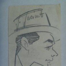 Arte: CARICATURA DE UN SEÑOR CON SOMBRERO. DE MIRÓ ( DE OTRO MIRÓ ), 1958. Lote 196495321