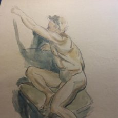 Art: ORIGINAL. OBRA DE FRANCESC GASSÓ. HOMBRE. MEDIDAS 31*22 CM. Lote 196502513