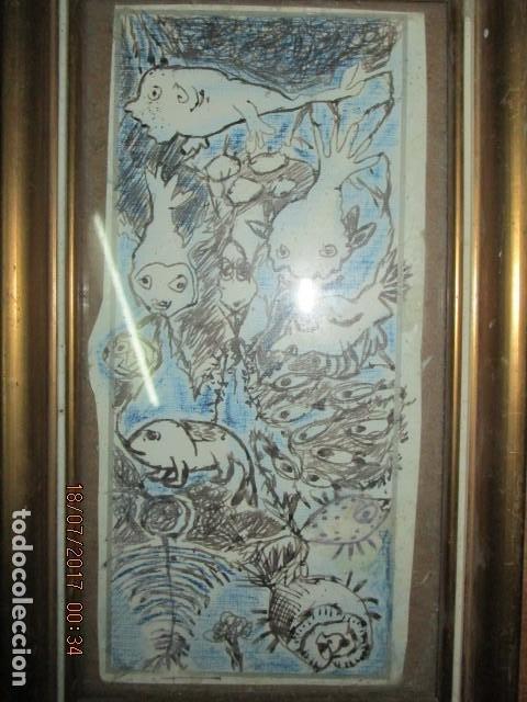 Arte: antigua pintura original dibujo coloreado - Foto 2 - 196655440