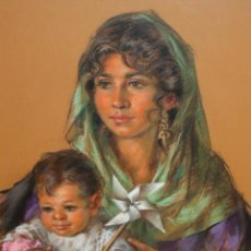 Arte: MIGUEL BALLESTA MAQUEDA (SEVILLA, 1929 - 1998) DIBUJO A PASTEL. MATERNIDAD. Lote 196668237