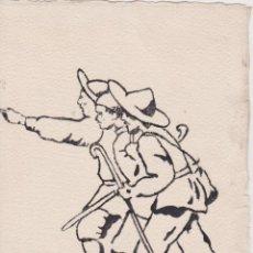 Arte: DIBUIX A TINTA DEL MESTRE VICTOR ESTEBAN I RIPAUX (1891-1969) FIRMAT I DEDICAT (1955). Lote 196905661