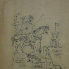 Arte: MANUEL GOMEZ BAEZA (ALICANTE, 1911 - 1986) DIBUJO A TINTA FIRMADO. CABALLEROS. Lote 197112512