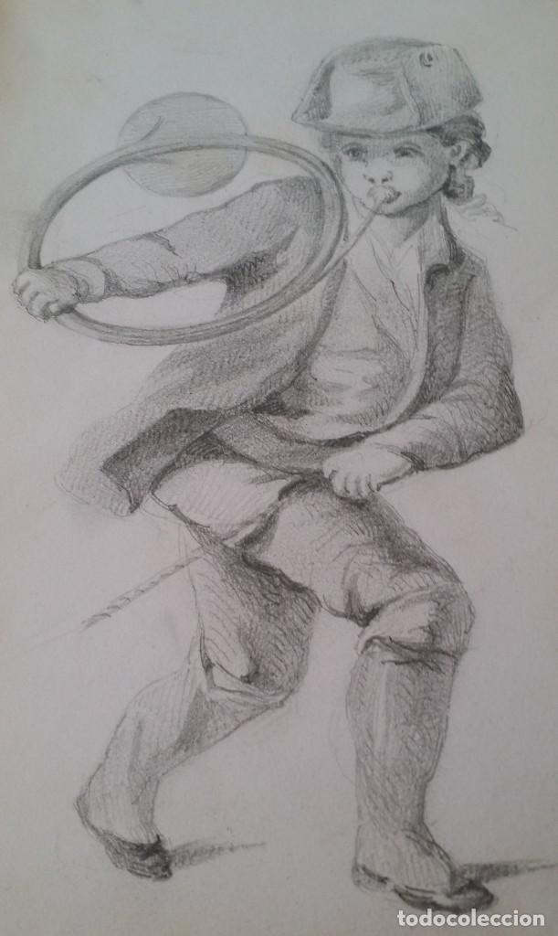 Arte: Dibujo de niño jugando, XIX - Foto 7 - 197189588