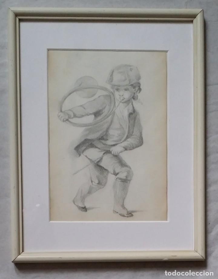 DIBUJO DE NIÑO JUGANDO, XIX (Arte - Dibujos - Modernos siglo XIX)