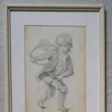 Arte: DIBUJO DE NIÑO JUGANDO, XIX. Lote 197189588