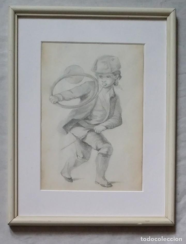 Arte: Dibujo de niño jugando, XIX - Foto 14 - 197189588