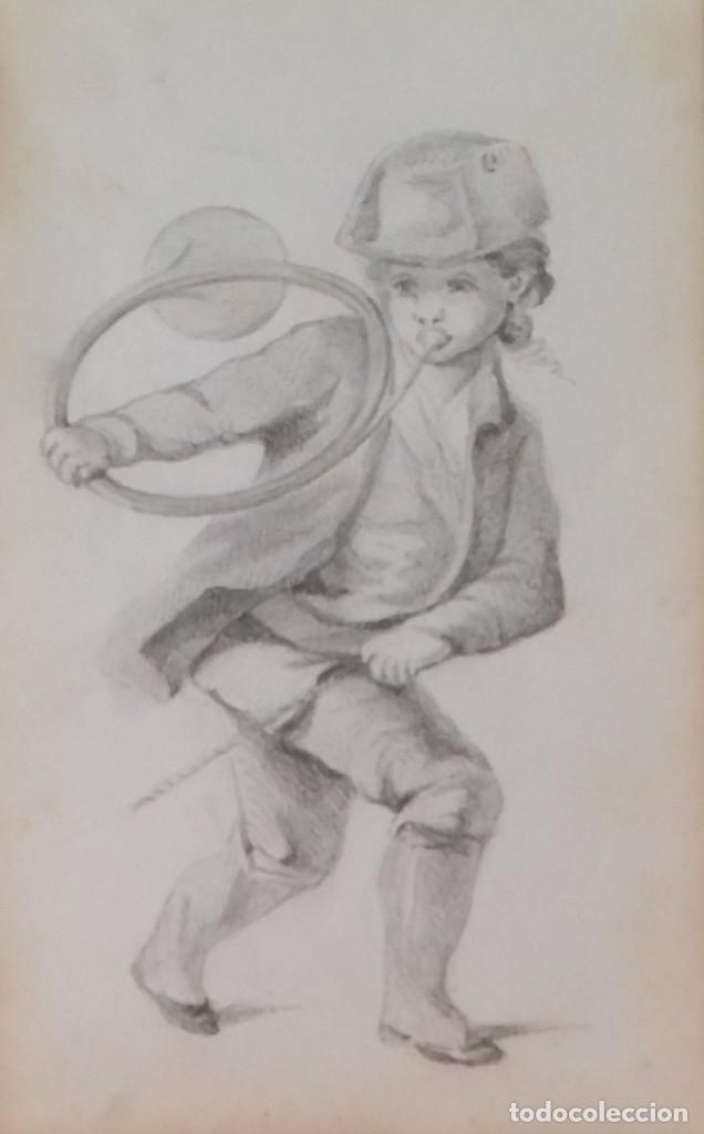 Arte: Dibujo de niño jugando, XIX - Foto 2 - 197189588