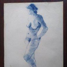 Arte: UN DIBUJO DESNUDO FEMENINO EN TONOS AZULADOS TIZA PASTEL, DE GRAN BELLEZA PLASTICA. Lote 197350822