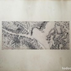 Arte: DIBUJO A PLUMILLA, VISTA AÉREA DEL RÍO GENIL (GRANADA) I. Lote 197460740