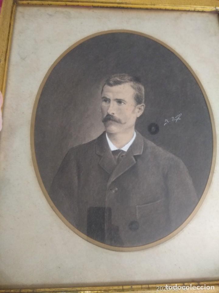 Arte: Magnifico retrato pintado a mano al carboncillo y pastel de caballero siglo xix firma a identificar - Foto 3 - 197523578
