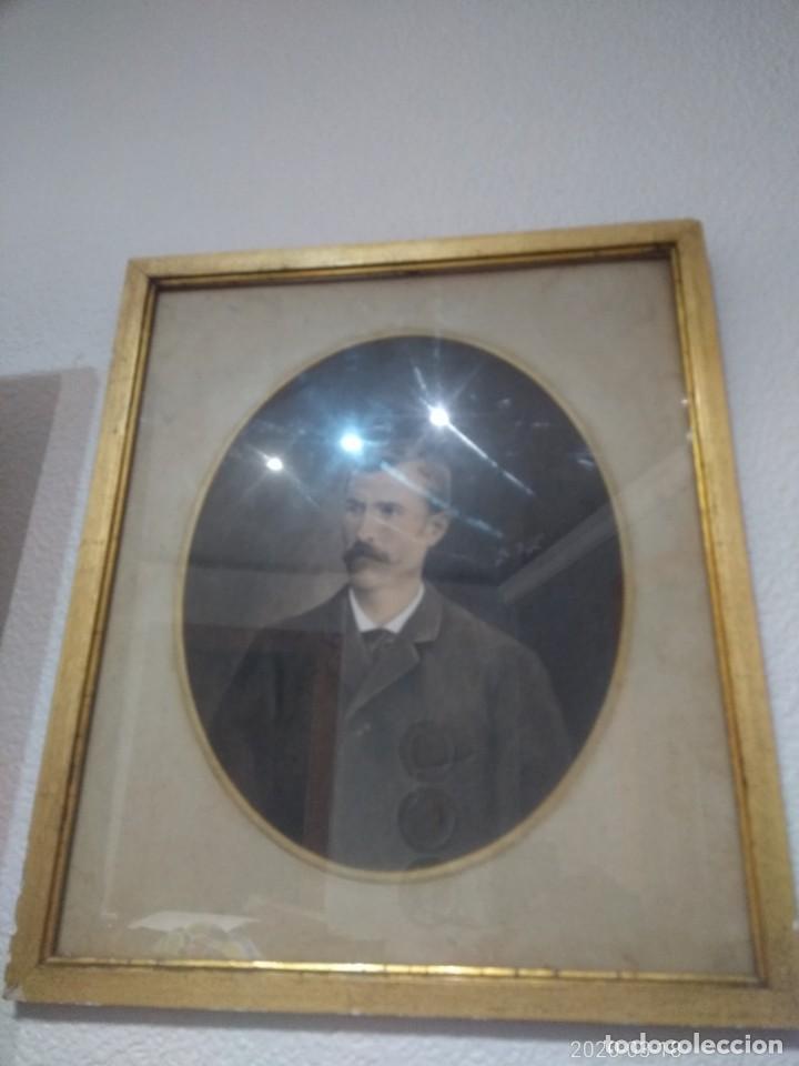 Arte: Magnifico retrato pintado a mano al carboncillo y pastel de caballero siglo xix firma a identificar - Foto 6 - 197523578