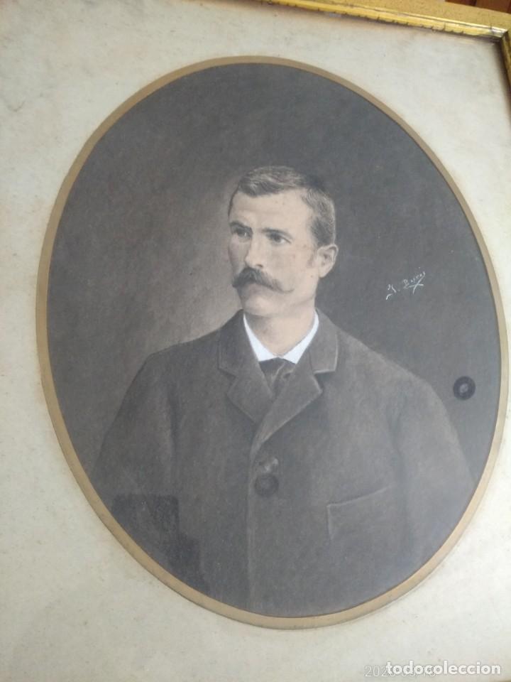 Arte: Magnifico retrato pintado a mano al carboncillo y pastel de caballero siglo xix firma a identificar - Foto 7 - 197523578