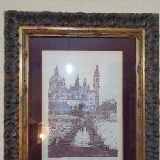 Arte: EL PILAR DE ZARAGOZA A PLUMILLA ENMARCADO FIRMADO. Lote 197781191