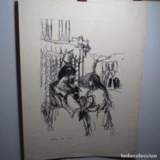 Arte: GRABADO Y DIBUJO POR AMBAS PARTES ILEGIBLE.. Lote 197841637