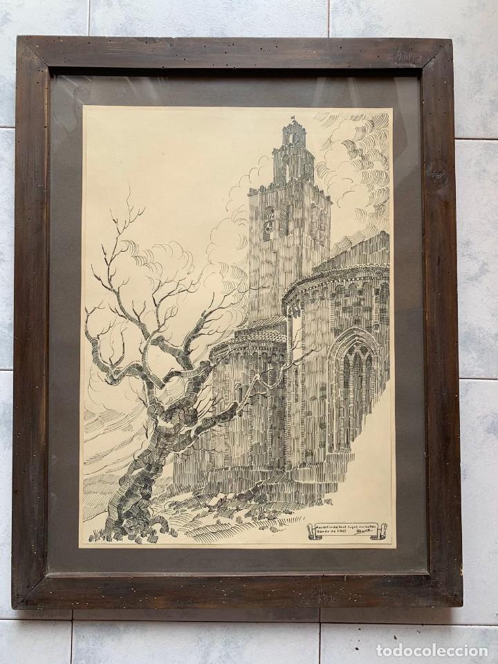 PERE MARRA * MONESTIR DE SANT CUGAT DEL VALLÉS. GENER DE 1945. FIRMADO (Arte - Dibujos - Contemporáneos siglo XX)