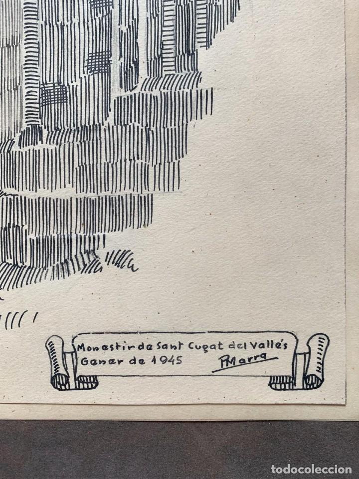 Arte: PERE MARRA * MONESTIR DE SANT CUGAT DEL VALLÉS. GENER DE 1945. FIRMADO - Foto 2 - 198063486