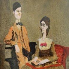 Arte: JOVEN FREUD JUNTO A SU MADRE AMALIA POR HERMENEGILDO SABAT ( URUGUAY 1933 - ARGENTINA 2018). Lote 198245883