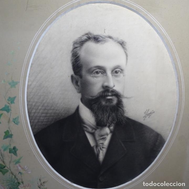 EXCELENTES DIBUJOS DEL S. XIX.RETRATO A CARBONCILLO Y DIBUJO A COLOR.MAESTRO. (Arte - Dibujos - Modernos siglo XIX)