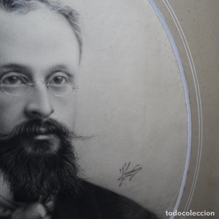 Arte: Excelentes dibujos del s. Xix.retrato a carboncillo y dibujo a color.maestro. - Foto 7 - 198605177