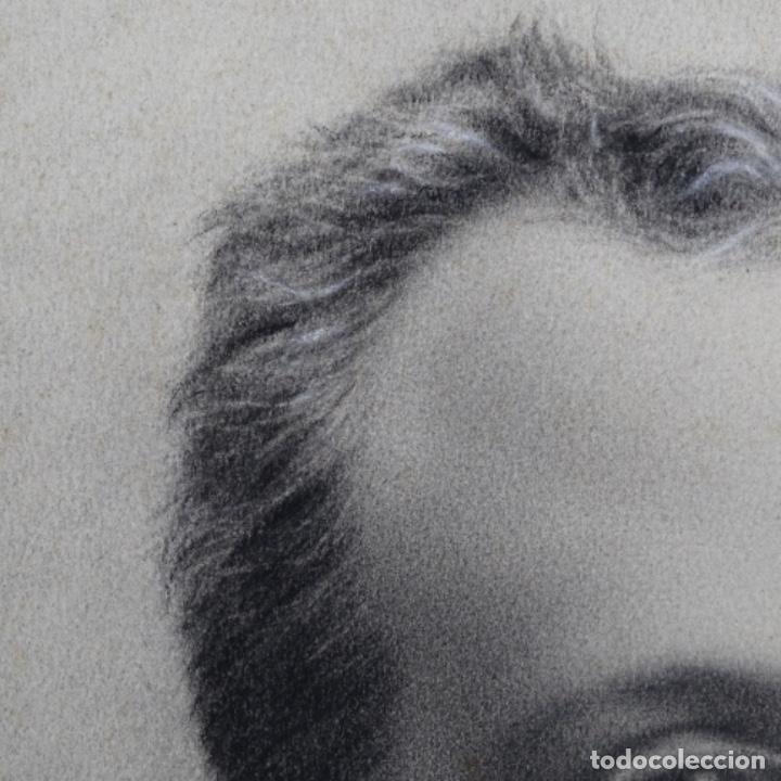 Arte: Excelentes dibujos del s. Xix.retrato a carboncillo y dibujo a color.maestro. - Foto 10 - 198605177