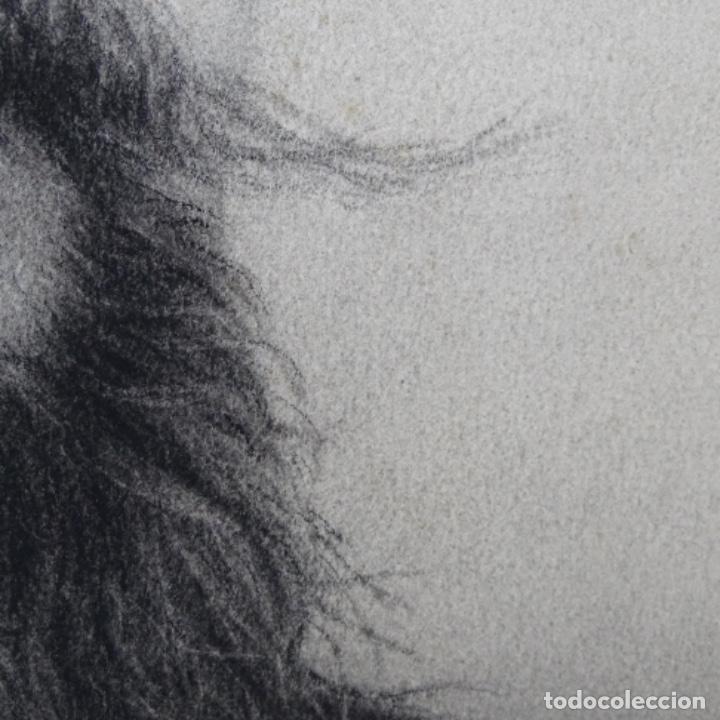 Arte: Excelentes dibujos del s. Xix.retrato a carboncillo y dibujo a color.maestro. - Foto 16 - 198605177