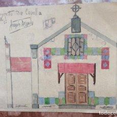 Arte: DIBUJO A COLOR DE JOAQUÍN DELGADO ARQUITECTO 1950 SIGLO XX 20CMX15CM.. Lote 198727340