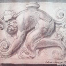 Arte: DIBUJO ACADÉMICO ANTIGUO DE 1932-1933 FIRMADO Y DATADO. Lote 198758910
