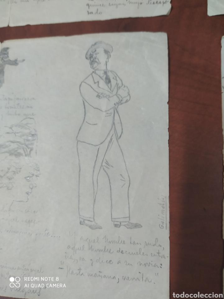 Arte: Lote 9 cuartillas antiguas de caricaturas originales a lápiz. - Foto 2 - 198844921