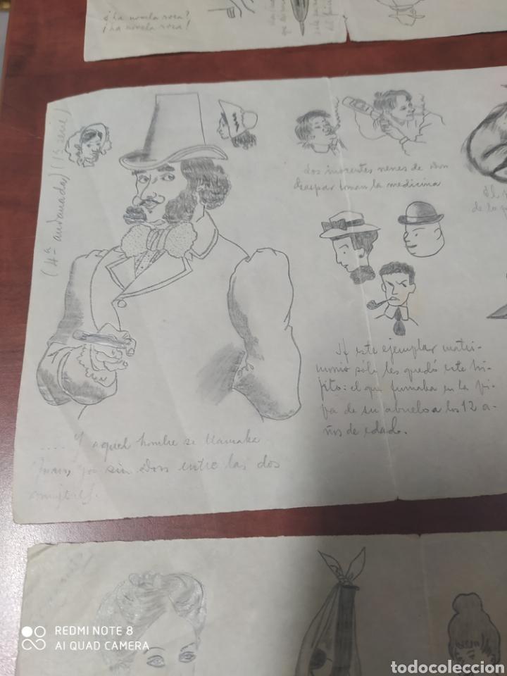 Arte: Lote 9 cuartillas antiguas de caricaturas originales a lápiz. - Foto 3 - 198844921