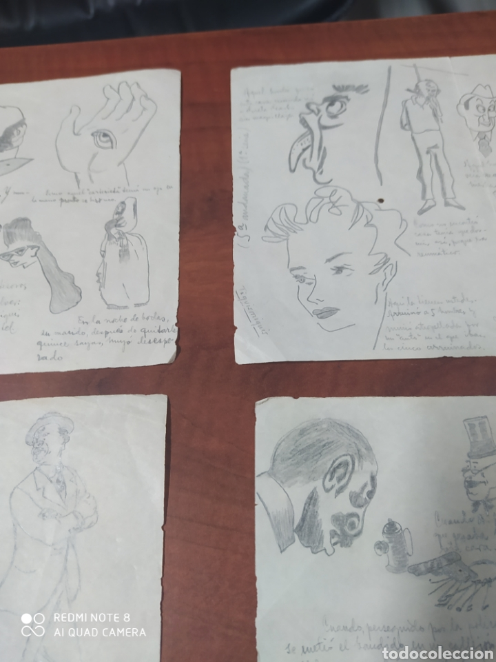 Arte: Lote 9 cuartillas antiguas de caricaturas originales a lápiz. - Foto 5 - 198844921