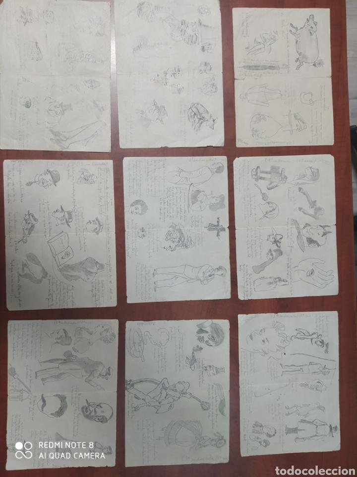 LOTE 9 CUARTILLAS ANTIGUAS DE CARICATURAS ORIGINALES A LÁPIZ. (Arte - Dibujos - Contemporáneos siglo XX)