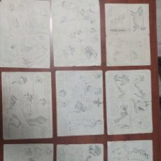 Arte: LOTE 9 CUARTILLAS ANTIGUAS DE CARICATURAS ORIGINALES A LÁPIZ.. Lote 198844921