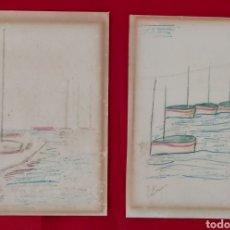 Arte: PAREJA DE ANTIGUOS DIBUJOS FIRMADOS PASTOR?? BARCOS.. Lote 198932642