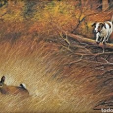 Arte: ESPECTACULAR DIBUJO A PASTEL. CAZA. FIRMA ILEGIBLE. Lote 199049941