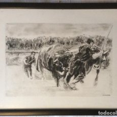Arte: IDI-PROBAK ARRASTRE DE PIEDRA POR BUEYES,DIBUJO FIRMADO. Lote 199092930