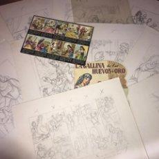Arte: 10 DIBUJOS ORIGINALES Y GUIÓN DE LA GALLINA DE LOS HUEVOS DE ORO. P. LUIS GERMAN MARTÍNEZ.. Lote 199223531