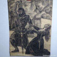 Arte: GRAN DIBUJO ANÓNIMO A CARBONCILLO DE BUEN TRAZO.. Lote 199518887