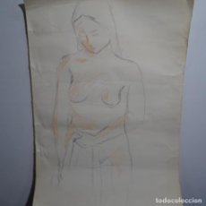 Arte: DIBUJO AL CARBONCILLO ANÓNIMO DE BUEN TRAZO.. Lote 199637241