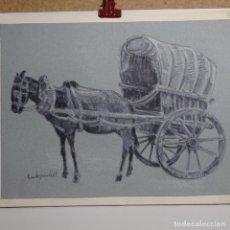 Arte: DIBUJO CHARLES PARDELL.BURRO Y CARRO.. Lote 199644931