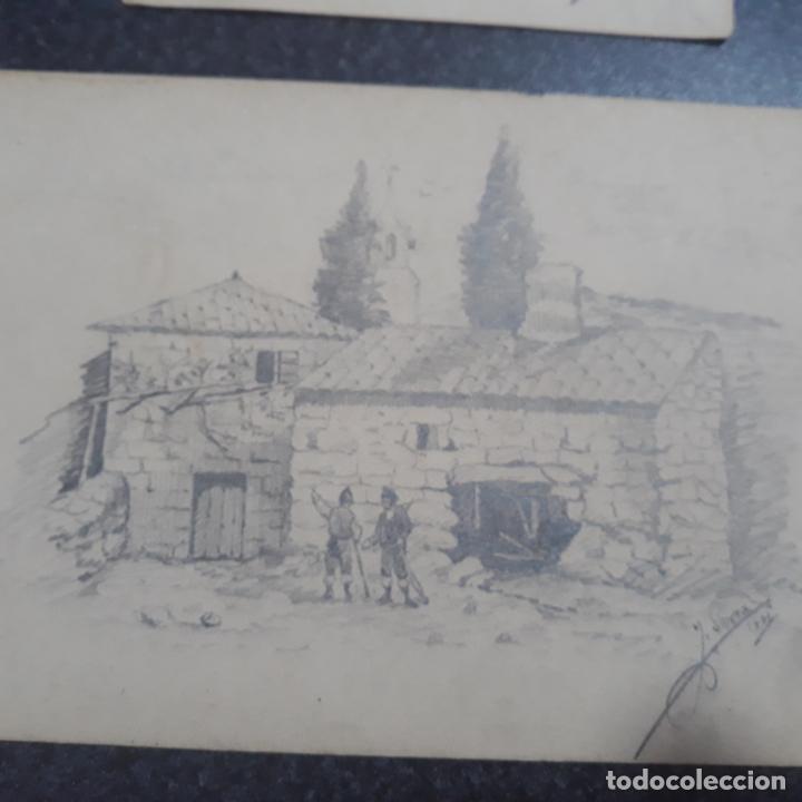Arte: pareja de dibujos antiguos firmados 1881,j.serra zaragoza,cataluña? - Foto 3 - 199729118