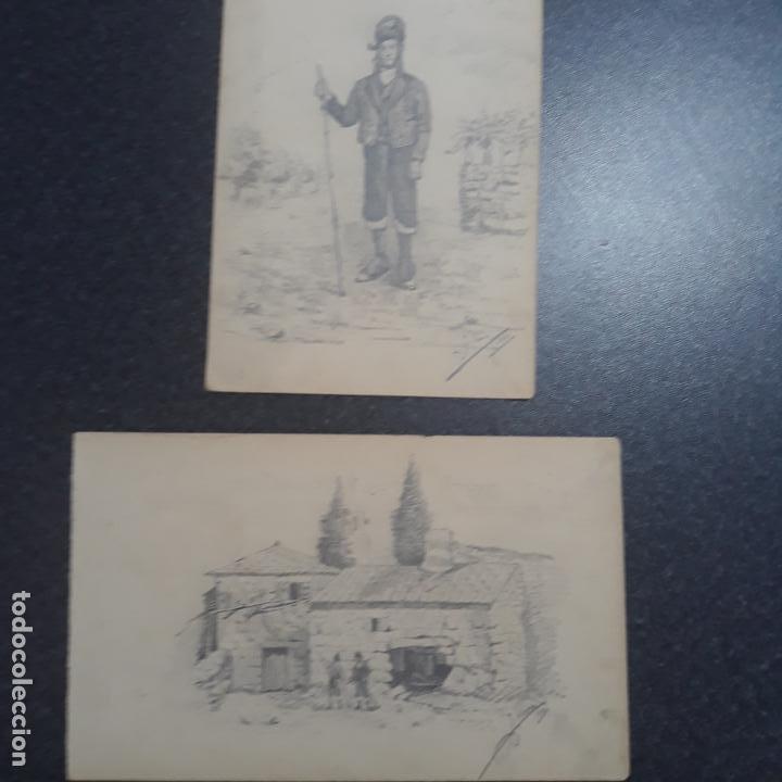 PAREJA DE DIBUJOS ANTIGUOS FIRMADOS 1881,J.SERRA ZARAGOZA,CATALUÑA? (Arte - Dibujos - Modernos siglo XIX)