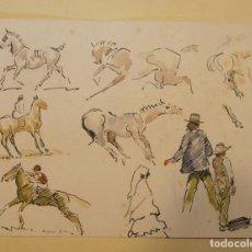 Arte: DIBUJO TINTA Y ACUARELA. ESTUDIOS DE CABALLOS Y JINETES. Lote 199740963