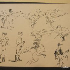 Arte: DIBUJO PLUMA ESTUDIOS DE JINETES. 17 X 23 CM. Lote 199741500
